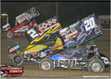 Jordan Adams battling 3 wide for second place, Home of Economy, RML Trading, Outlaw sprint car